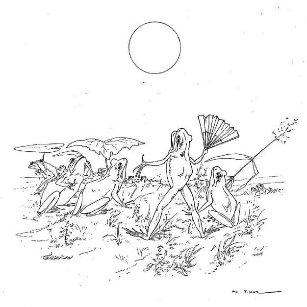 Le Soleil et Les Grenouilles de Jean de La Fontaine dans Les Fables - Illustration de Auguste Vimar - 1897