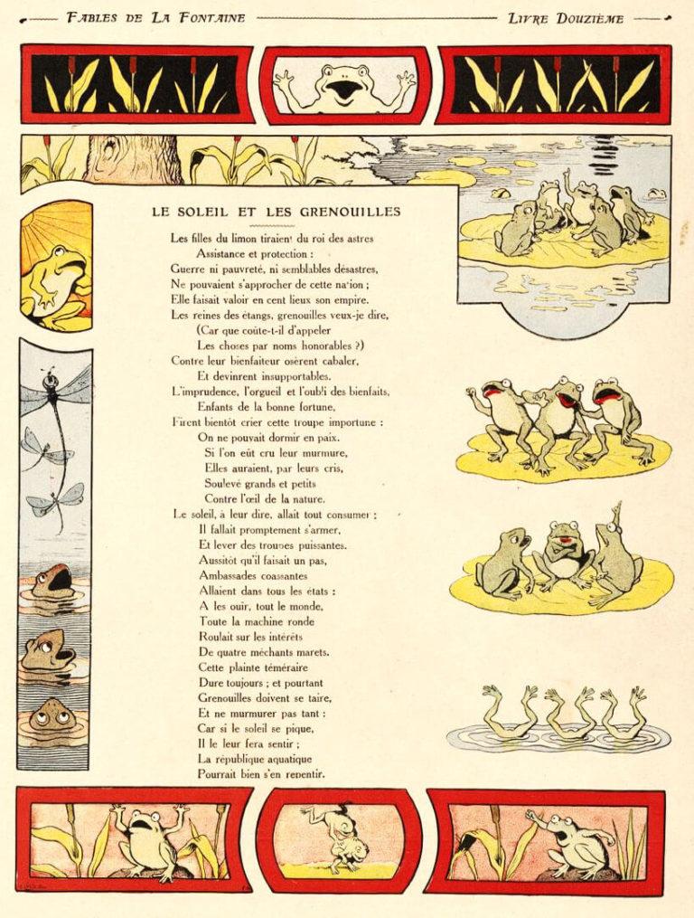 Le Soleil et Les Grenouilles de Jean de La Fontaine dans Les Fables - Illustration de Benjamin Rabier - 1906