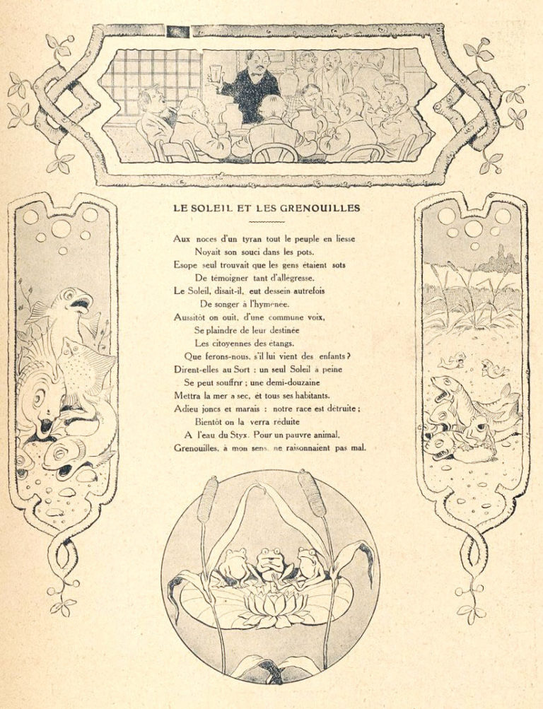 Le Soleil et Les Grenouilles de Jean de La Fontaine dans Les Fables - Illustration de Benjamin Rabier - 2ème version - 1906
