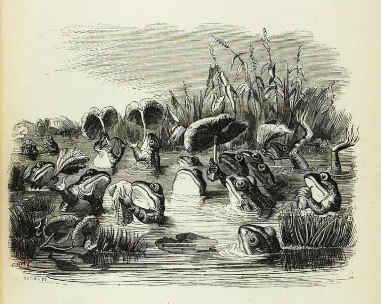 Le Soleil et Les Grenouilles de Jean de La Fontaine dans Les Fables - Illustration de Grandville - 1840