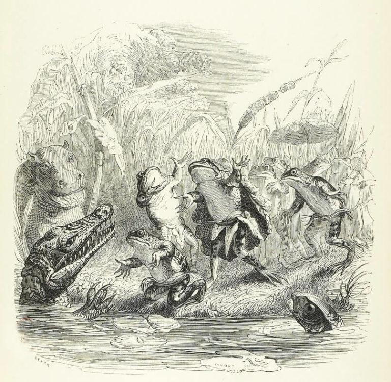 Le Soleil et Les Grenouilles de Jean de La Fontaine dans Les Fables - Illustration de Grandville - 2 - 1840