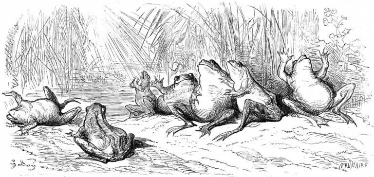 Le Soleil et Les Grenouilles de Jean de La Fontaine dans Les Fables - Illustration de Gustave Doré - 1876