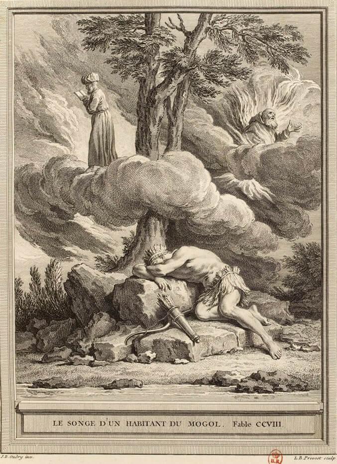 Le Songe d'Un Habitant Du Mogol de Jean de La Fontaine dans Les Fables - Gravure par Benoît-Louis Prévost d'après un dessin de Jean-Baptiste Oudry - 1759