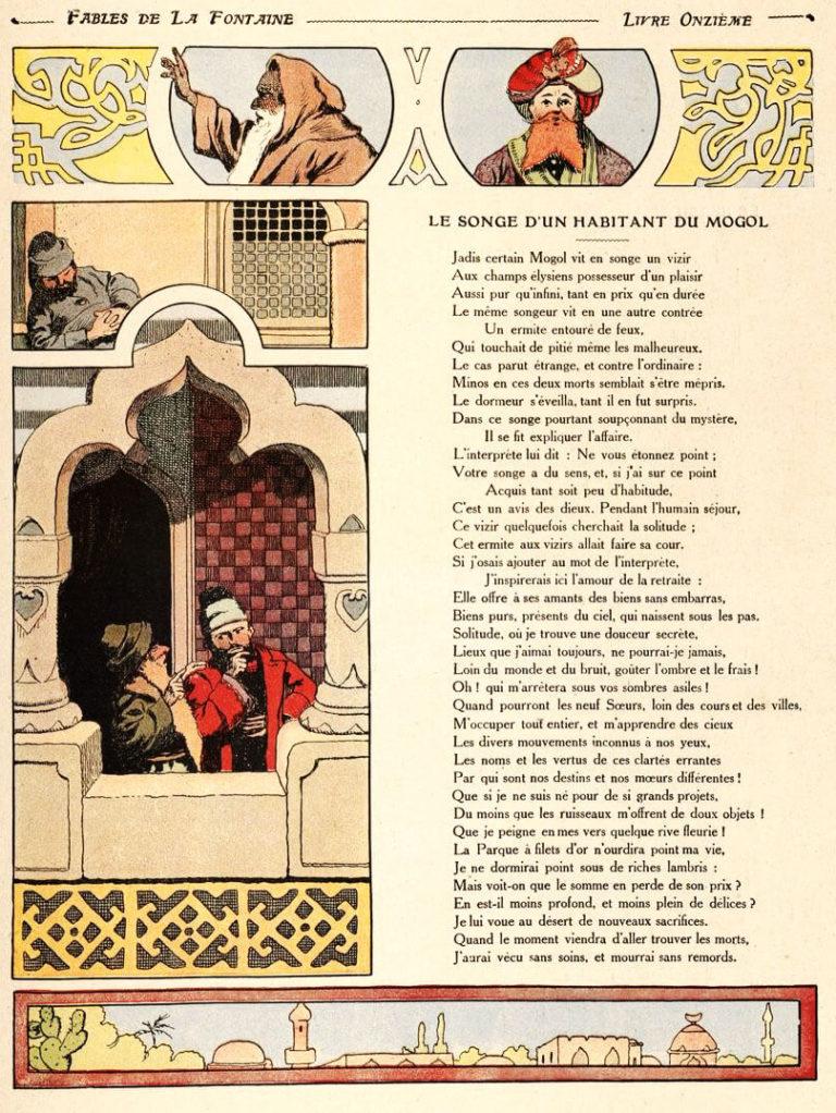 Le Songe d'Un Habitant Du Mogol de Jean de La Fontaine dans Les Fables - Illustration de Benjamin Rabier - 1906