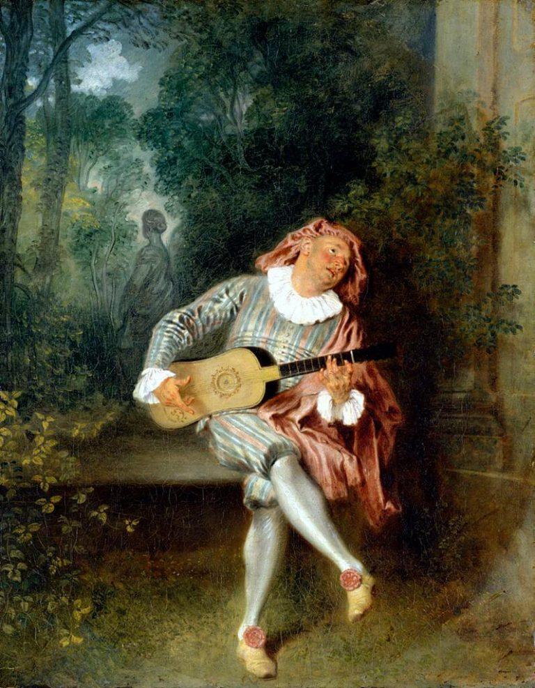 Mandoline de Paul Verlaine dans Fêtes Galantes - Peinture de Antoine Watteau - Mezzetin - 1719