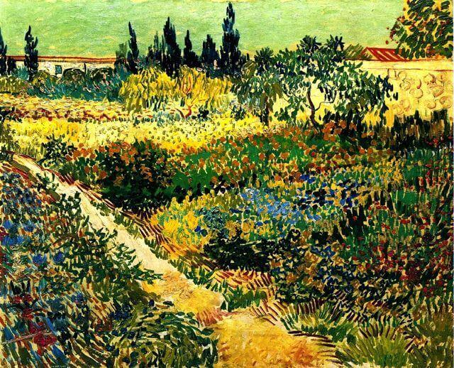 Sentiers Où l'Herbe Se Balance... de Victor Hugo dans Les Châtiments - Peinture de Vincent van Gogh - Jardin en fleur avec sentier - 1888